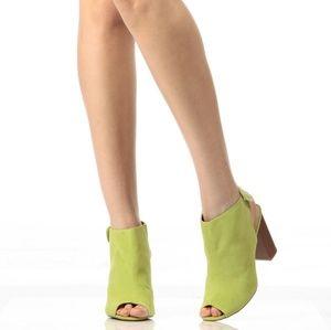 Shoes - 🆕️ARRIVED Lime Faux Suede Peep Toe Sling Back Chu